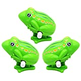 Wind Up Toys Cute Jumping Frog Classic Clockwork Spring for Gift, Xmas, Party, Birthday, Festival, Surprise, Memory, Collection (3 Packs)