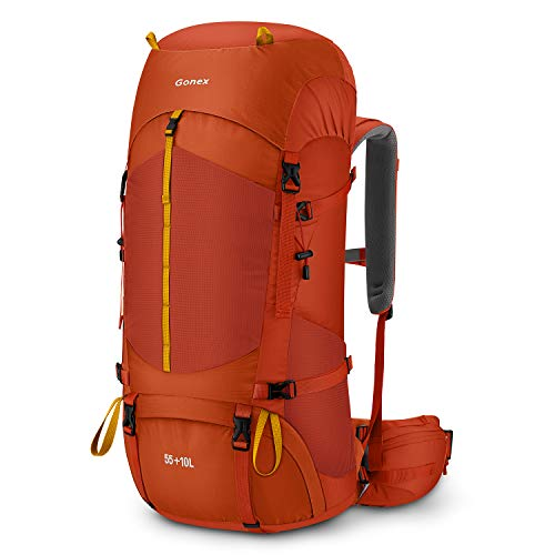 Gonex 55L / 65L Hiking Internal Frame Backpack Outdoor Backpacking Camping Trekking Climbing Backpack with Rain Cover for Men Women Orange Red