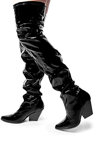 Cape Robbin East Side Over The Knee Boots with Chunky Block Heels, Fashion Dress Boots for Women - Black Size 6.5