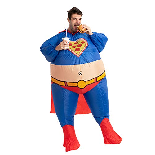 Spooktacular Creations Halloween Costume Chunky Chubby Superhero Inflatable Superhero Costume Fat Suit - Adult One Size Men Full Body Inflatable Costume