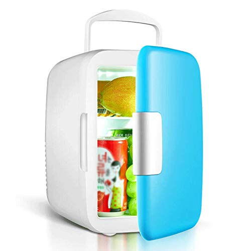 LDDLDG Mini Frigorifero Mini Frigo 6L Frigorifero Porta Singola con Maniglia Piccolo Portable Compact Cooler Warmer for Gli Alimenti Camera Home Auto (Color : Blue)