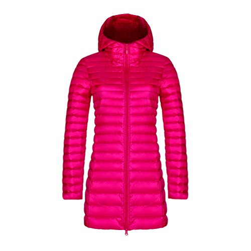 YiiJee Warme Damen Winter Jacke Parka Mantel Stepp Kurzjacke gefüttert Rose Rot 4XL