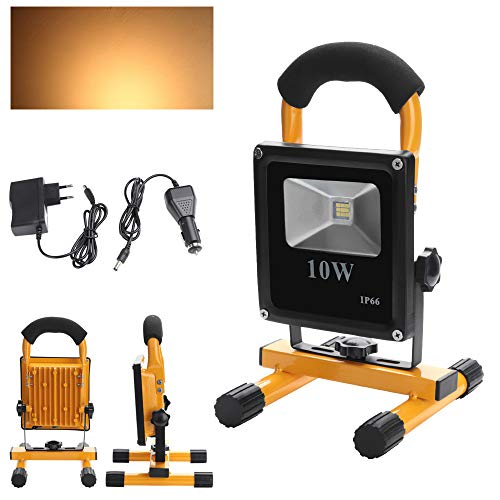 Preisvergleich Produktbild fsders VINGO LED Akku Strahler Fluter 10W Warmweiß 2200MA mit Ständer Handlampe Baustrahler 800LM Wiederaufladbare,  50 W