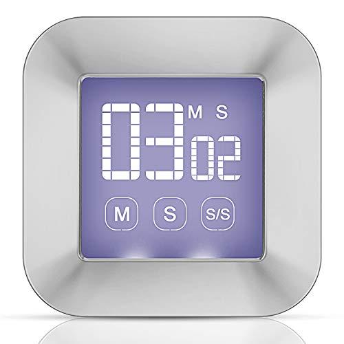 Zorara Eieruhr Digital Küchentimer, Touchscreen Küchenuhr Timer, Kurzzeitmesser Küche Magnetischer Elektronischer Zeitschaltuhr und Stoppuhr Schallendem Alarm mit LCD Display (Silber)