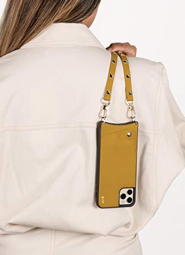 Aux Venice Collection - Custodia in pelle vegana per iPhone 12 Pro Max | con tracolla regolabile staccabile con borchie dorate