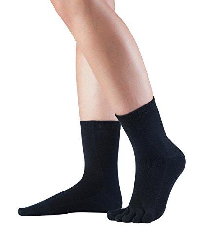 Knitido Essentials Midi, halb hohe Zehensocken aus 85prozent Baumwolle, für jeden Tag, für Damen & Herren, Größe:43-46, Farbe:Black (101)