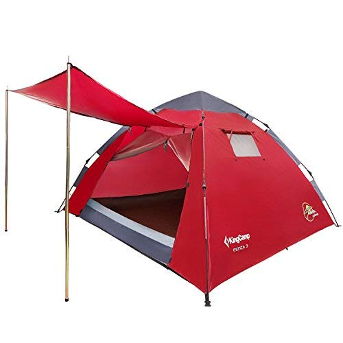 KingCamp 3 Person Waterproof Dome Tent with Door Awning For Camping Hiking Festivals (Red)