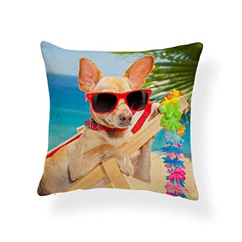 AdoDecor Bulldog Cats Cojines Fundas de Almohadas Cesta Libros Sombrero navideño Cojines Playa Hojas de Palma Decoración de habitación de niños 40 × 40cm con núcleo de Almohada