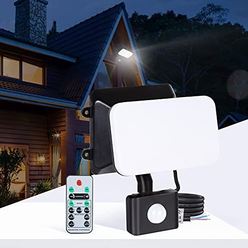 Lureshine LED Strahler mit Bewegungsmelder Außen Sicherheitsbeleuchtung mit Fernbedienung 15W Wasserdicht IP65 Kaltweiß 6500K 1200LM Helligkeit Einstellbar