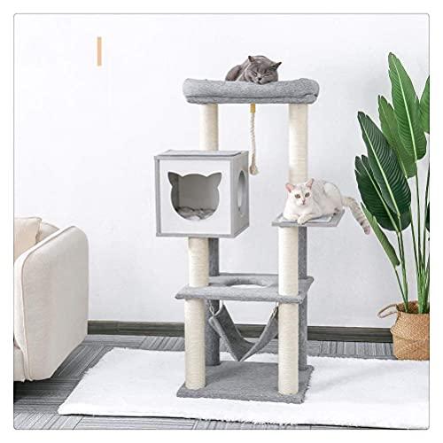YAMMY Árbol para Gatos, Marco de Madera para Escalar para Gatos, cómodo Nido para Mascotas, Mini escaleras, Tabla para raspar Gatos, Hamaca, Pelota de Felpa, Accesorios de sisal Wo (Mascota)