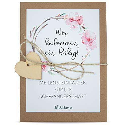 kids&me NEU! 29 Meilensteinkarten für die Schwangerschaft \'Liebe im Bauch\' - Fotokarten für den Babybauch - ein tolles Geschenk für Schwangere I Schwangerschaftstagebuch
