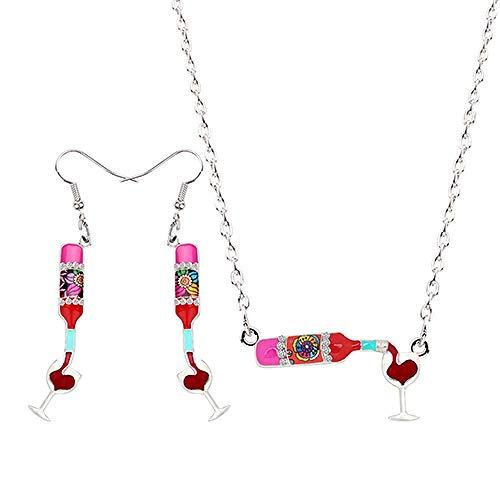 Collar Botella de la aleación del Esmalte del Vino Rojo Copa cuelgan los Pendientes de Gota Colgante del Collar La joyería de la Vendimia Mujeres Accesorios Bijoux Chica Collares de Mujer Hyococ