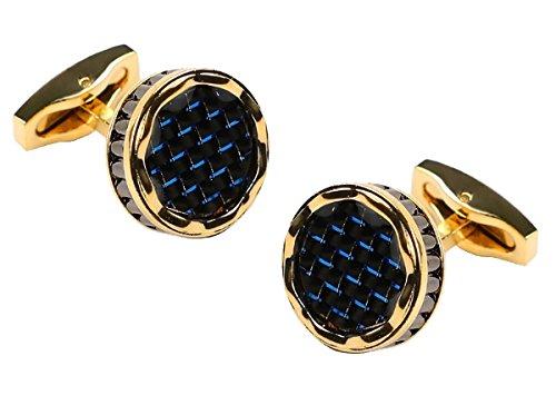 Fontee® 1 Paar hohe Qualität französisches Hemd Blaue Kohlefaser-Epoxy Manschettenknöpfe für Männer klassisch Manschettenknöpfe mit Geschenk-Box (vergoldet)
