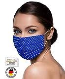 Unisex Stoffmasken Mundschutz Maske Stoff 100% Baumwolle Mund Nasen Schutzmaske mit Motiv Mund und Nasenschutz Maske waschbar ROYAL BLAU