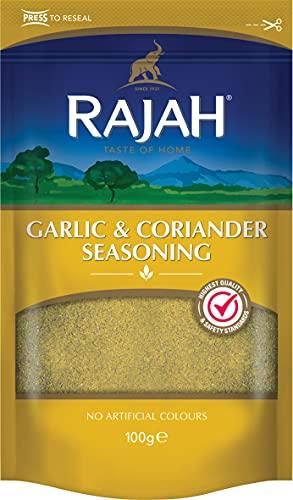 RAJAH Mezcla de especias de ajo y cilantro - Garlic & Coriander Seasoning - Mezcla de especias de la India para numerosos platos 100 g