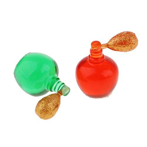 Baoblaze Miniatur Kunststoff Parfümflaschen Parfümzerstäuber Modell für 1/12 Puppenhaus Schlafzimmer Deko - Rot + Grün, 2pcs