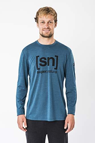 Supernatural Essential I.D. Longsleeve Haut à Manches Longues Homme, Legion Blue Melange/Jet Black Logo, FR : 2XL (Taille Fabricant : XXL)