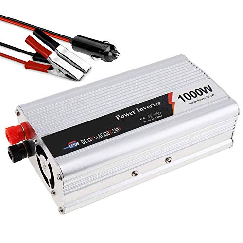 ZHCJH Auto Car Power Inverter, 1000W (2000W Peak) 12V 24V To AC 220V Modified Sine Wave Inverter Car Truck Power Supply Outlets and Charging Ports