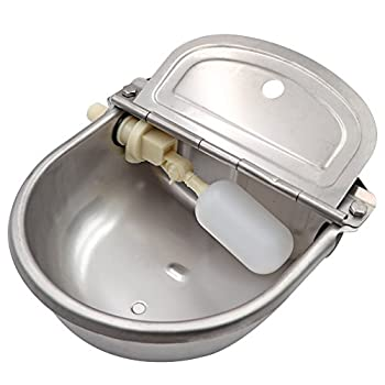 MACGOAL Stainless Steel Automatic Waterer Bowl with Float Valve Water Trough for Livestock Dog Goat Pig Waterer with Drain Plug