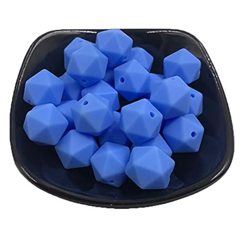 Coskiss 100 piezas 17mm DIY mordedor juguetes geométricos cuentas de silicona poligonales para collar de enfermería accesorio de pulsera (15)