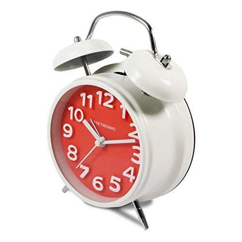 Metronic 477333 - Despertador Vintage, cuarzo, silencioso, doble campana, potente alarma, con botón LED para iluminar la esfera, rojo