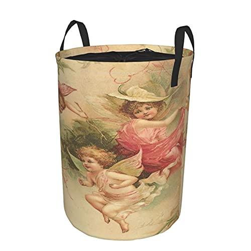 Cesto de lavandería redondo,Carry Me Go,elegante ángel hermoso sagrado,cesto de lavandería plegable impermeable con cordón,19'X14'