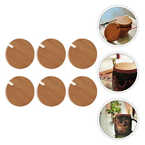 Cabilock 6pcs Bamboo Cup Cover Lids Coffee Tea Mug Drinking Water Tumbler Cup Lid Replacement with Spoon Room 8.6x8.6x1cm