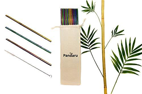 Pandaru Edelstahl Strohhalme Regenbogenfarben - 12er Set Metall Trinkhalme + Reinigungsbürste + Stoffbeutel - wiederverwendbar, nachhaltig und spülmaschinenfest