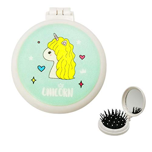 Travel Hair Brush, Mini Pocket Hairbrush with Makeup Mirror Cute Small Round Fold Hair Brush for Girls Women Curly Wet Thick Straight Frizzy Damaged Hair Deatngling & Massage, Unicorn Hair Brush