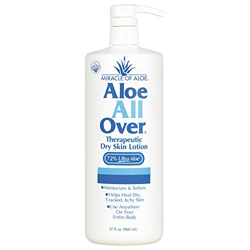 Miracle of Aloe All Over Lotion Cream 32 Oz Pump Best Dry Lotion You'll Ever Use Guaranteed! Ideal Dry Skin Lotion for Your Whole Body, Foot, Hand, Arms, Legs, Shoulders. Hydrate & Moisturize Your Skin with This Gentle Soothing Lotion. Dry, Flaking, Itching, Rough Skin.