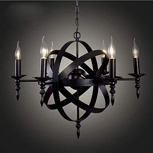 Kandelaar, vintage, industriële, Europese stijl, ijzer, wereldbol, plafondverlichting, kaars, klassiek, hanglamp van glas, voor gang, eetkamer