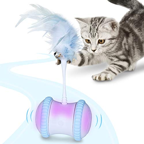AJK Interactive Cat Toy Robotic,300 mAh Large Capacity Battery,Working 3 Hours, USB Rechargeable, Kitten Toys with 360°Self Rotating Ball & Led Light, All Floors,Carpet Available,Comes with Feathers