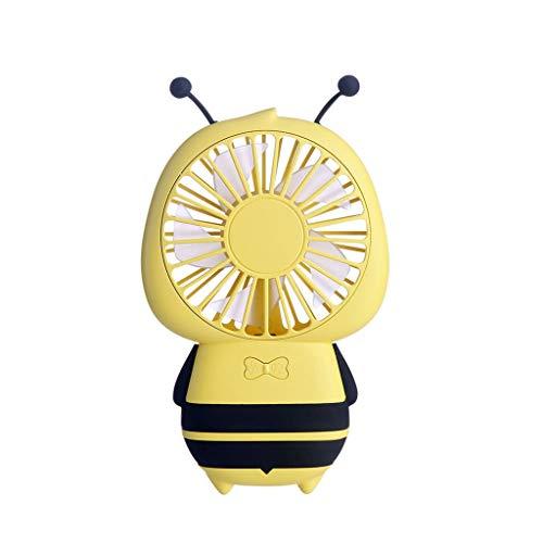 Janly Clearance Sale Mini ventilador portátil LED USB recargable con diseño de dibujos animados, para verano (amarillo)