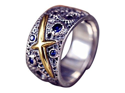 NicoWerk Silberring Breit Mit struktur Krater Vintage Geschwärzt Mit stein Saphir Blau Golden Ring Silber 925 Verstellbar Damenringe Damen SRI268