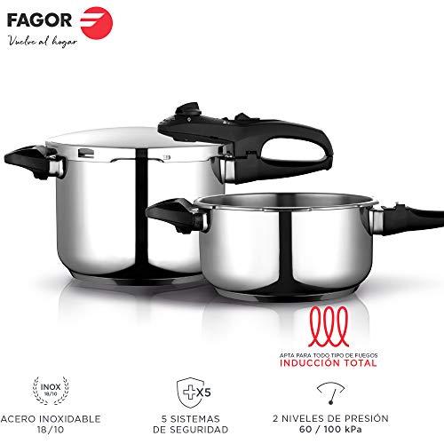 Fagor Duo Olla a presión Super rápida, Acero Inoxidable, Todo Tipo de cocinas, INDUCCION Total. Fondo termodifusor IMPAKSTEEL Muy Resistente, 5 Sistemas de Seguridad, 2 Niveles de presión (4L + 6L)