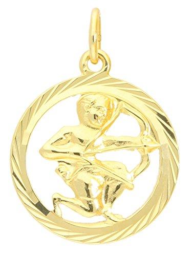 Sternzeichen Anhänger Schütze (Ohne Kette) Gelbgold 333 Gold (8 Karat) Ø 15mm Rund Tierkreiszeichen Horoskop Sternbild Goldanhänger Gavno A-04433-G302-Sch