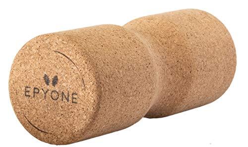 Epyone® | Faszienrolle nachhaltig aus 100% Kork - Massagerolle mit Umlaufrille für Wirbelsäule | Selbstmassage für zuhause - 30x12cm