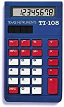 Texas Instruments TI-108 (108/TKT/1L1/C) Simple Calculator - 8 Character(s) - LCD - Solar Powered - Pack of 10 photo