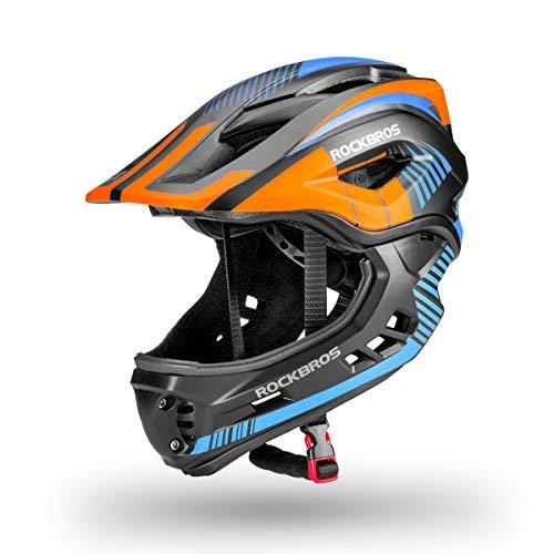 ROCKBROS Casque BMX Intégral Enfant Casque Complet Vélo VTT Anti-Choc Garçon Fille Menton Détachable Taille...