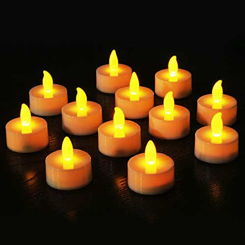 Novelty Place Flameless LED Tea Light Candles in Warm Yellow Flickering Bright Tealights Electric Battery-Powered Tealight Candles for Votive, Wedding, Birthday (Pack of 12)