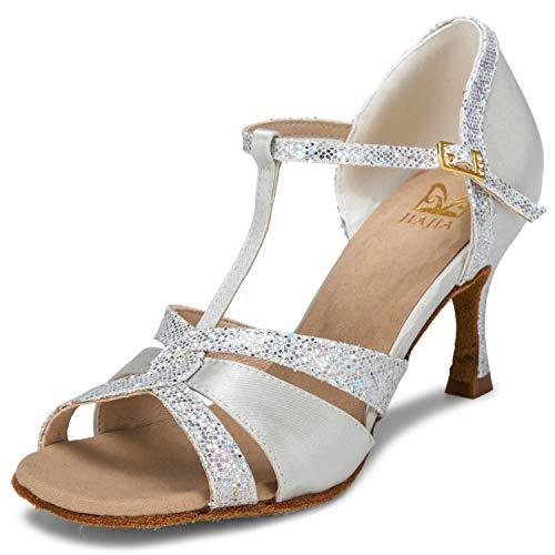 JIA JIA 20519 Damen Sandalen Ausgestelltes Heel Super-Satin Latein Tanzschuhe Silber, 40