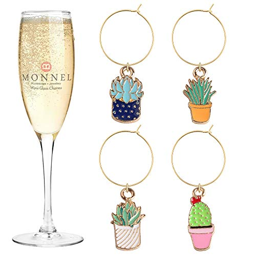 P425 Brand New Assorted Tiny Cactus Plants Wine Charms Glass Marker for Party with Velvet Bag- Set of 4