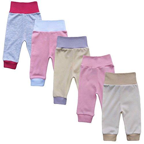 MEA BABY Unisex Baby Hose aus 100% Baumwolle im 5er Pack/ Pumphose. Babyhose für Jungen Baby Hose für Mädchen, Schlupfhose (56, Mädchen)