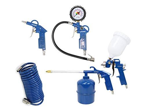 HYUNDAI Kompressor Zubehör SET ACZ55901 (Druckluft Zubehör SET, 5-teilig, bestehend aus Spiralschlauch, Spritzpistole, Sprühpistole, Reifenfüllmessgerät, Ausblaspistole)