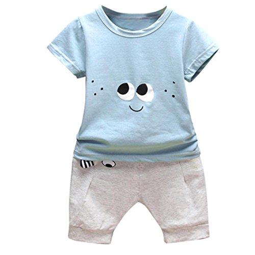 Conjuntos Recien Nacido Ropa,2PC Conjunto Ropa Bebe Recien Nacido Verano 0-24 meses Niños Ojos de Dibujos Animados Camisetas y Pantalones (Azul, Tamaño:12-18Mes)