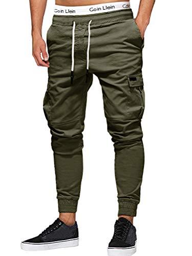 Onsoyours Herren Jogger Cargo Herren Chino Multi-Tasche Slim Fit Cargohose Jogger Hose Freizeithose Streetwear für Herbst Winter Z4 Grün Medium