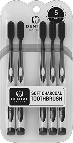 Dental Expert 5 Pack Charcoal Toothbrush GENTLE SOFT Slim Teeth Head Whitening Brush for Adults amp Children  Ultra Soft Medium Tip Bristles Black