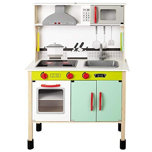 WOOMAX - Cocina juguete de madera con accesorios, utensilios de cocina, por niños 3 años, juguete...