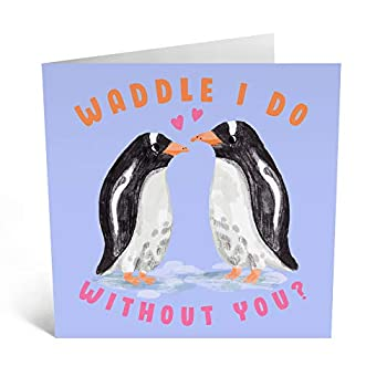 Central 23 - Cute Anniversary Card for Husband -  Waddle I Do Without You  - Pretty Anniversary Card for Her - Ideal Greeting Card for Boyfriend Girlfriend - Comes with Fun Sticker