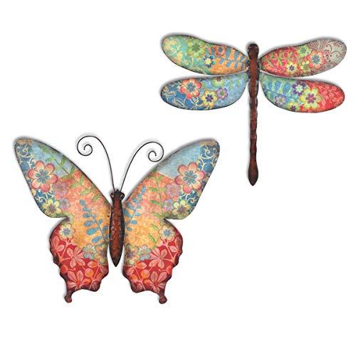 CAPRILO. Set de 2 Apliques Pared Decorativos de Metal y Cristal Mariposa y Libélula Multicolor. Cuadros y Adornos. Decoración Hogar. Insectos. Regalos Originales. 30 x 0,50 x 25 cm.
